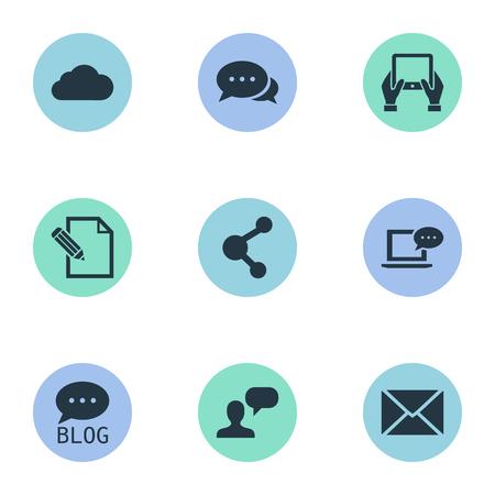 Vectorillustratiereeks Eenvoudige Gebruikerspictogrammen. Elementen die overwegen, site, document en andere synoniemen, laptop en blog.