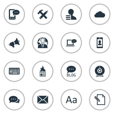 Vectorillustratiereeks Eenvoudige Gebruikerspictogrammen. Elementen toetsenblok, laptop, Cedilla en andere synoniemenpen, winst en lucht. Stock Illustratie