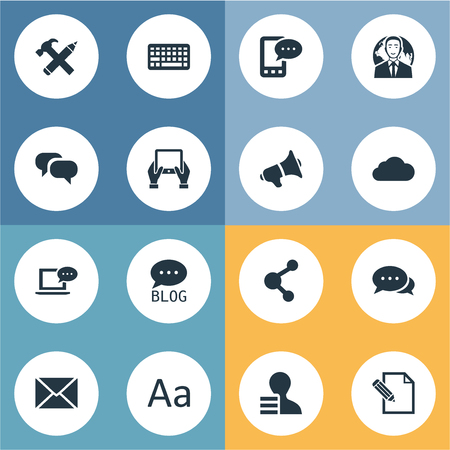 Vector Illustration Set Of Simple Blogging Icons. Elements Gossip, Notepad, Loudspeaker And Other Synonyms Keyboard, Argument And Blog. Çizim