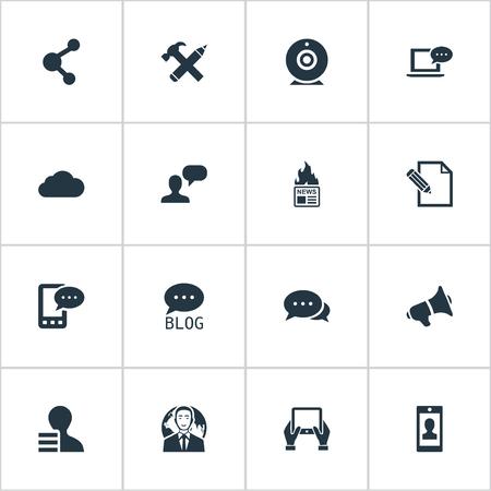 Vectorillustratiereeks Eenvoudige Gebruikerspictogrammen. Elements Broadcast, International Businessman, E-Letter en ander synoniemennieuws, debat en tablet. Stockfoto - 76775892