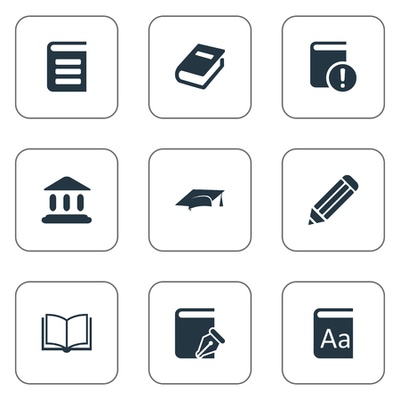 Vector Illustration Set Of Simple Books Icons. Elements Academic Cap, Pen, Notebook And Other Synonyms Reading, Dictionary And Catalog. Ilustrace