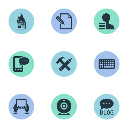 Vector Illustration Set Of Simple User Icons. Elements Gazette, Broadcast, Gain And Other Synonyms Pen, Hand And Earnings. Ilustrace