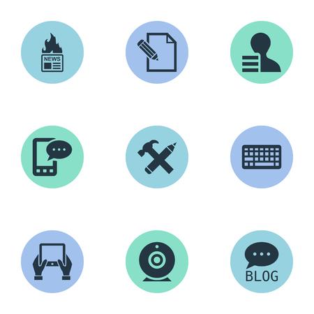 Vectorillustratiereeks Eenvoudige Gebruikerspictogrammen. Elements Gazette, Broadcast, Gain en andere synoniemenpen, hand en winst.