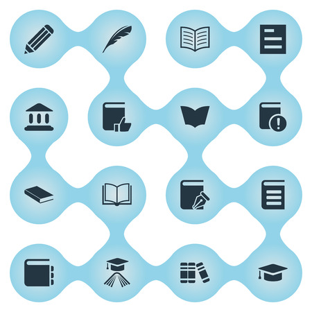 Vector Illustration Set Of Simple Knowledge Icons. Elements Encyclopedia, Recommended Reading, Graduation Hat And Other Synonyms Important, Quill And Favored. Illustration