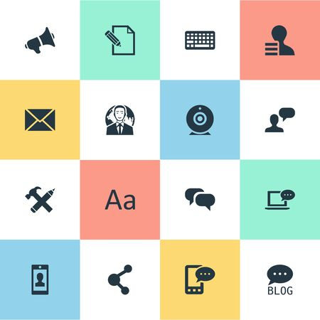 Vector Illustration Set Of Simple Newspaper Icons. Elements Keypad, Broadcast, Gain And Other Synonyms Broadcast, Missive And Blog. Çizim