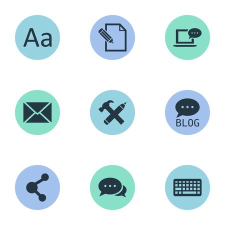 Vector illustratie Set van eenvoudige bloggen pictogrammen. Elementen Cedilla, Laptop, Argument en andere synoniemenonderhandeling, toetsenbord en bericht. Stockfoto - 76776732
