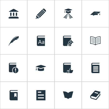 Vector Illustration Set Of Simple Books Icons. Elements Plume, Book Cover, Recommended Reading And Other Synonyms Dictionary, Page And Book.