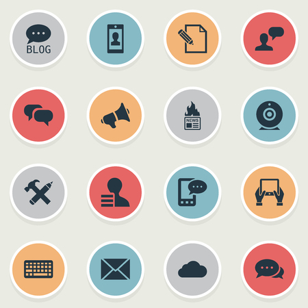 Vector Illustration Set Of Simple Newspaper Icons. Elements Document, Argument, Post And Other Synonyms Profile, Earnings And Debate.