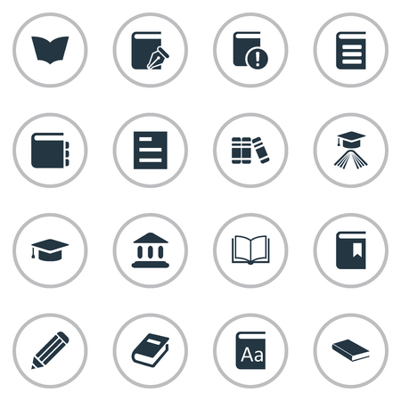 Vector Illustration Set Of Simple Reading Icons. Elements Academic Cap, Notebook, Blank Notebook And Other Synonyms Dictionary, Academy And Document.