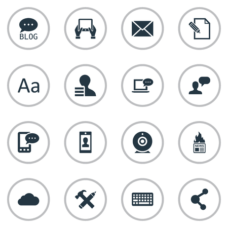 Vector Illustration Set Of Simple Blogging Icons. Elements Overcast, Man Considering, Cedilla And Other Synonyms News, Relation And Coming. Çizim