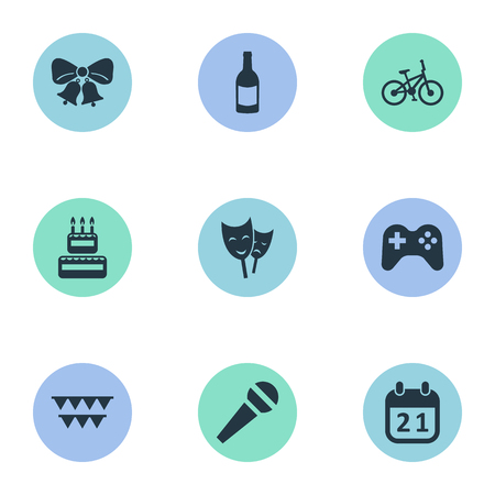 Vector Illustration Set Of Simple Holiday Icons. Elements Decorations;, Mask, Special Day And Other Synonyms Mask, Bike And Microphone.