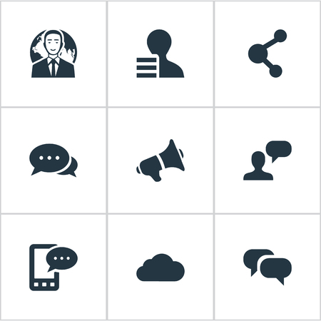 Illustration Set Of Simple Newspaper Icons. Elements Loudspeaker, E-Letter, Share And Other Synonyms Megaphone, Relation And Loudspeaker.