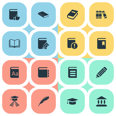 reading app: Vector Illustration Set Of Simple Education Icons. Elements Important Reading, Bookshelf, Recommended Reading And Other Synonyms Sketchbook, Favored And Writing. Illustration