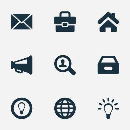 Vector Illustration Set Of Simple Business Icons. Elements Megaphone, Dossier, Inbox And Other Synonyms Home, Bulb And Loudspeaker.