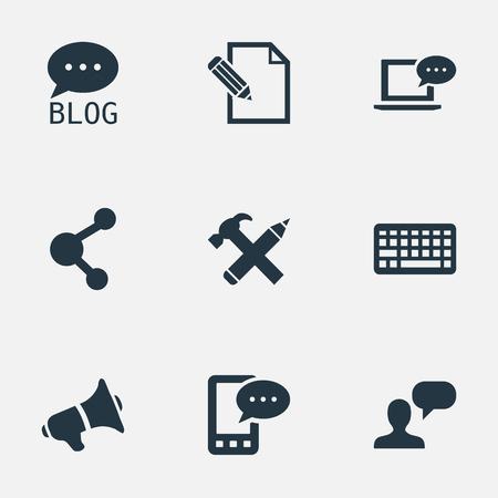 Vector illustratie Set van eenvoudige bloggen pictogrammen. Elementen, toetsenbord, site en ander synoniemenbord, netwerk en blog. Stockfoto - 76870412
