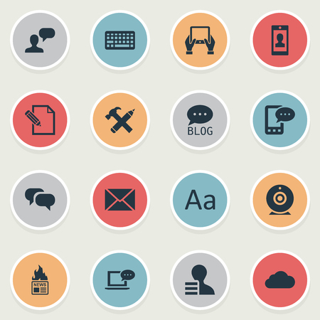 advantages: Vector Illustration Set Of Simple Blogging Icons. Elements Gossip, Laptop, Document And Other Synonyms Alphabet, Hot And Site. Illustration