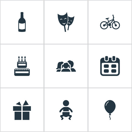 juvenile: Vector Illustration Set Of Simple Birthday Icons. Elements Ribbon, Bicycle, Beverage And Other Synonyms Beverage, Confectionery And Gift.