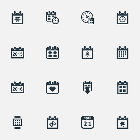 Vector Illustration Set Of Simple Calendar Icons. Elements Date Block, Heart, Reminder And Other Synonyms Summer, Wheel And April. Illustration