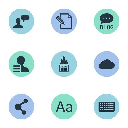 Een vectorillustratiereeks Eenvoudige Gebruikerspictogrammen. Elementen Bewolkt, Site, Man Overwegend en Andere synoniemen Winst, Aandeel en Contract.