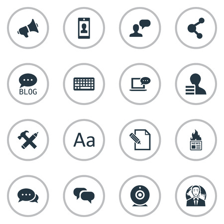 Vector Illustration Set Of Simple Blogging Icons. Elements Loudspeaker, Document, Gazette And Other Synonyms Hammer, Pen And Gain. Ilustrace