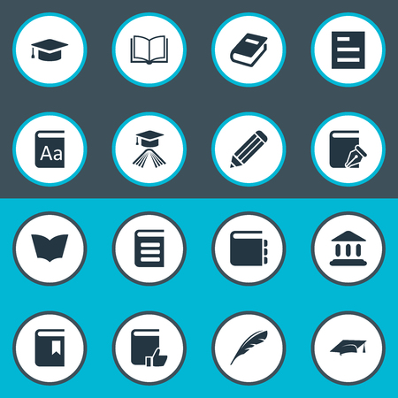 computer education: Vector Illustration Set Of Simple Reading Icons. Elements Graduation Hat, Book Cover, Notebook And Other Synonyms Recommended, Alphabet And Dictionary.