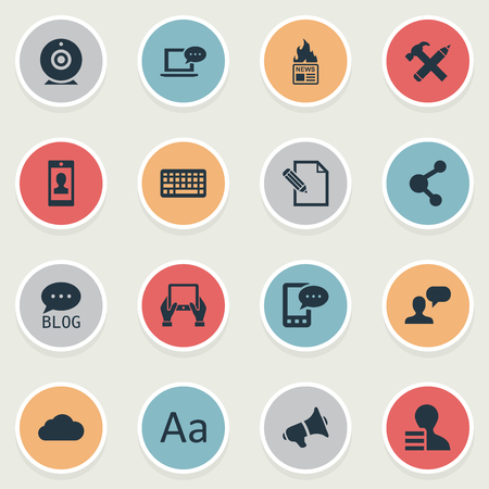 Vector Illustration Set Of Simple Blogging Icons. Elements Gazette, Site, E-Letter And Other Synonyms Profit, Sky And Network. Illustration