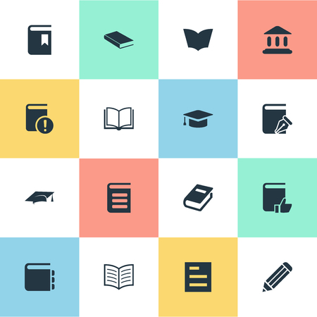 Vector Illustration Set Of Simple Reading Icons. Elements Notebook, Pen, Recommended Reading And Other Synonyms Dictionary, Important And Recommended.