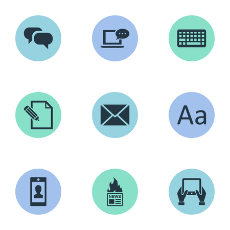 Vector Illustration Set Of Simple Blogging Icons. Elements Profile, Gazette, Gossip And Other Synonyms Tablet, Hot And News.