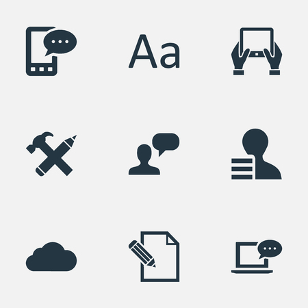 Vector Illustration Set Of Simple User Icons. Elements Repair, Cedilla, Notepad And Other Synonyms Considering, Hand And Tablet. Ilustrace