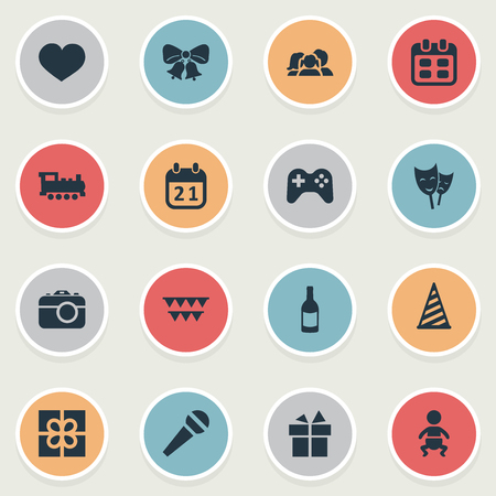 Vector Illustration Set Of Simple Holiday Icons. Elements Speech, Days, Train And Other Synonyms Feelings, Photo And Theater.