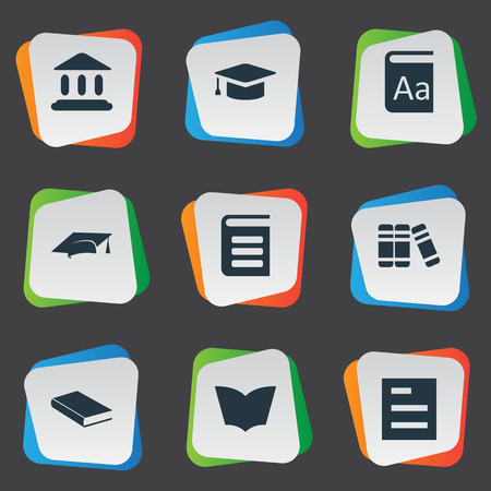 Vector Illustration Set Of Simple Education Icons. Elements Academic Cap, Library, Reading And Other Synonyms School, Graduation And Literature. Illustration