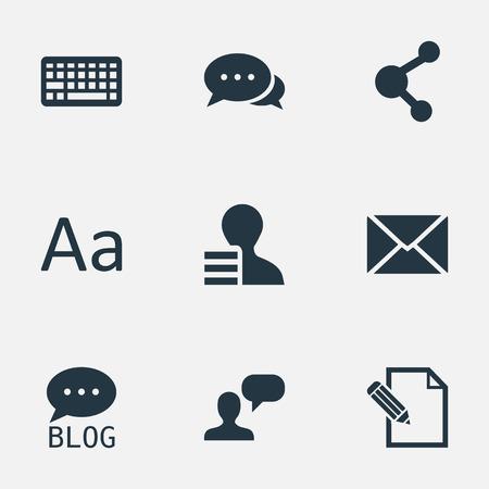 Vectorillustratiereeks Eenvoudige Krantenpictogrammen. Elementenman die, toetsenbord, toetsenbord en winst overwegen, documenteren, delen en andere synoniemen.
