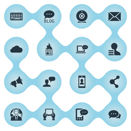 Vector Illustration Set Of Simple Blogging Icons. Elements Argument, Overcast, Gazette And Other Synonyms Message, Network And Relation. Çizim