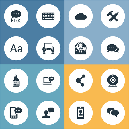 Vector Illustration Set Of Simple Newspaper Icons. Elements Argument, Overcast, Man Considering And Other Synonyms Hammer, Keyboard And Blog.