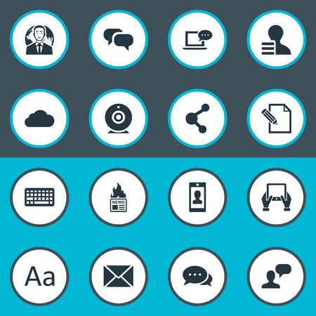 Vectorillustratiereeks Eenvoudige Gebruikerspictogrammen. Elementen: document, bericht, roddel en andere synoniemen-tablet, bewolkt en heet. Stock Illustratie