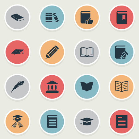 Vector Illustration Set Of Simple Knowledge Icons. Elements Sketchbook, Encyclopedia, Book Page And Other Synonyms Sketchbook, Plume And Write.