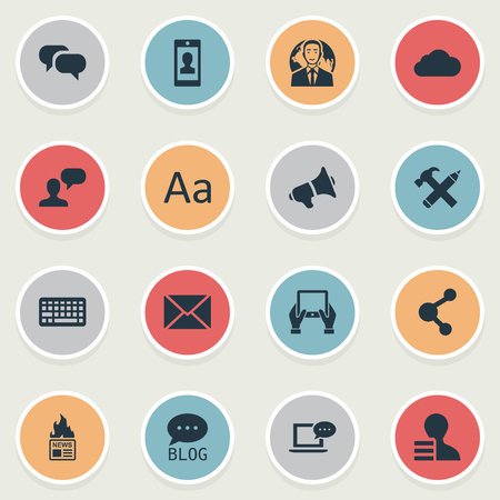 Vector Illustration Set Of Simple User Icons. Elements Gossip, Laptop, Post And Other Synonyms Smartphone, Conversation And Tablet. Ilustrace