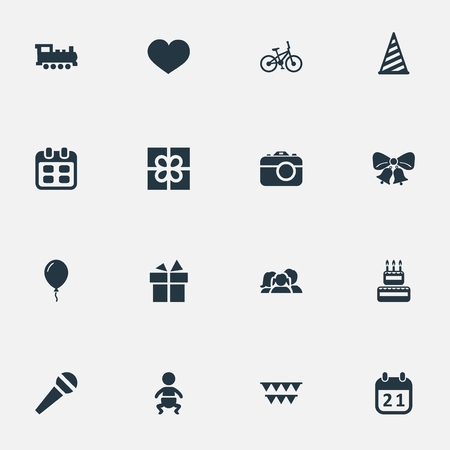 Vector Illustration Set Of Simple Birthday Icons. Elements Decorations;, Cap, Days And Other Synonyms Box, Baby And Voice. Illustration