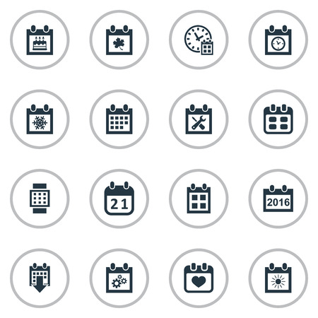 Vector Illustration Set Of Simple Calendar Icons. Elements Intelligent Hour, Event, Reminder And Other Synonyms History, Deadline And Heart.