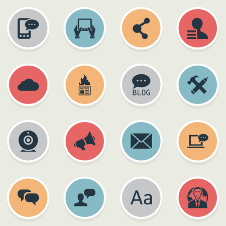 Vector Illustration Set Of Simple User Icons. Elements Share, Loudspeaker, E-Letter And Other Synonyms Broadcast, Speaker And Repair.