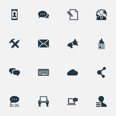 Vector Illustration Set Of Simple User Icons. Elements Site, Share, Gain And Other Synonyms Loudspeaker, Megaphone And Earnings. Illustration