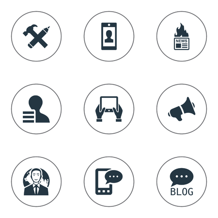 pad: Vector Illustration Set Of Simple Blogging Icons. Elements Gazette, E-Letter, Gain And Other Synonyms Message, Notepad And Megaphone.