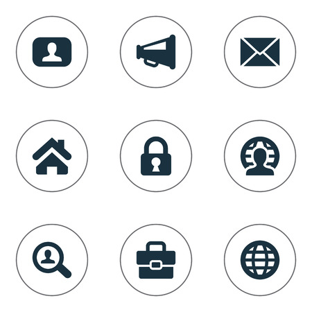 Vector Illustration Set Of Simple Business Icons. Elements Home, Inbox, World And Other Synonyms Distribution, Secret And Padlock.