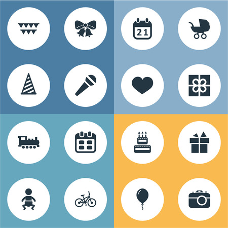 Vector Illustration Set Of Simple Birthday Icons. Elements Decorations;, Resonate, Cap And Other Synonyms Confectionery, Cake And Balloon. Illustration