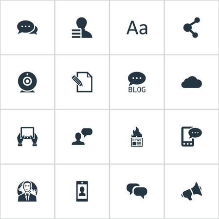 Vector illustratie Set van eenvoudige bloggen pictogrammen. Elementen Luidspreker, profiel, winst en andere synoniemen Roddelen, Heet en profiel.
