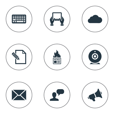 Vector Illustration Set Of Simple Newspaper Icons. Elements Keypad, Overcast, Gazette And Other Synonyms Notepad, Laptop And Debate. Illustration
