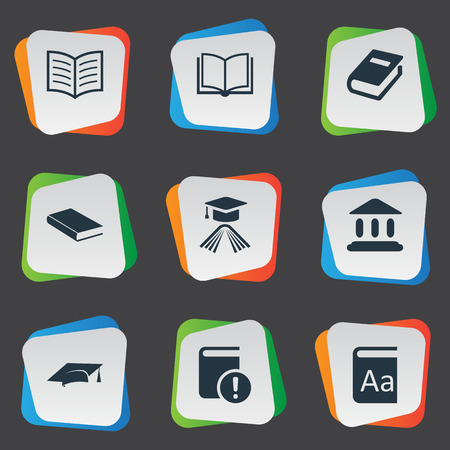 Vector Illustration Set Of Simple Reading Icons. Elements Graduation Hat, Academic Cap, Book Page And Other Synonyms Important, Building And Book. Ilustrace