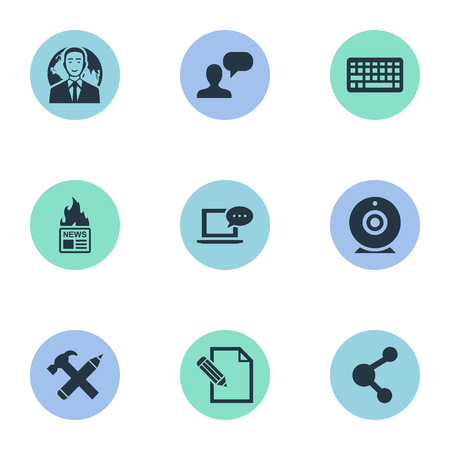 Vector Illustration Set Of Simple Newspaper Icons. Elements Laptop, Man Considering, Gazette And Other Synonyms Gazette, Broadcast And Camera.