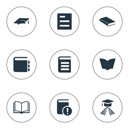 Vector Illustration Set Of Simple Books Icons. Elements Encyclopedia, Reading, Blank Notebook And Other Synonyms Encyclopedia, Notepad And Book.
