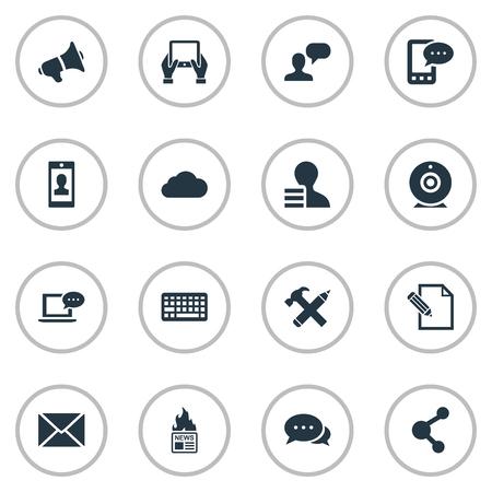 Vectorillustratiereeks Eenvoudige Gebruikerspictogrammen. Elementen delen, krijgen, profiel en andere synoniemen Potlood, reparatie en e-brief.